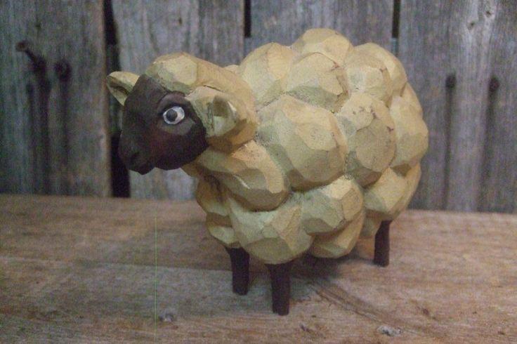 Vintage Whimsical Folk Art Wood Carved SHEEP Signed ...