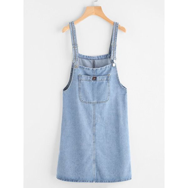 Pinafore Denim Dress With Pockets (16 PAB) ❤ liked on Polyvore featuring dresses, overalls, blue, jean, long-sleeve denim dresses, pocket dresses, denim dress, short dresses and sleeveless denim dress