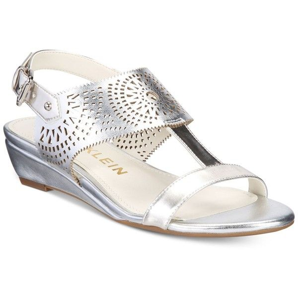 Anne Klein Maddie Wedge Sandals ($27) ❤ liked on Polyvore featuring shoes, sandals, silver, wedge heel sandals, shiny shoes, anne klein, wedge sole shoes and wedge sandals