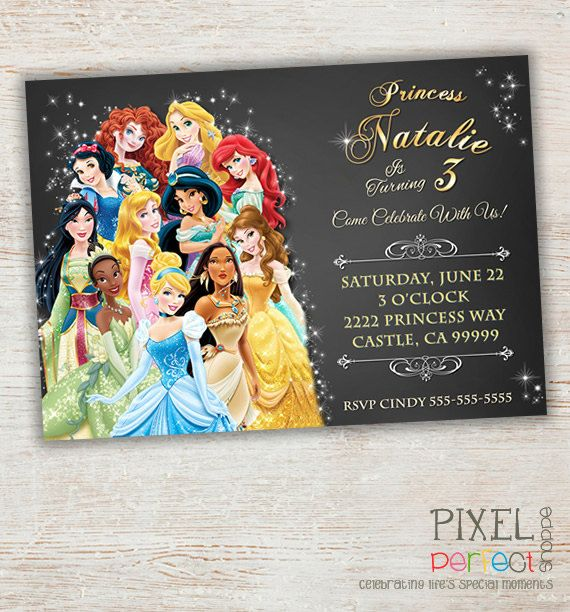 Princess Invitation, Disney Princess Birthday Invitation, Chalkboard Invitation, Belle, Cinderella, Ariel, Aurora, Pocahontas, Snow White