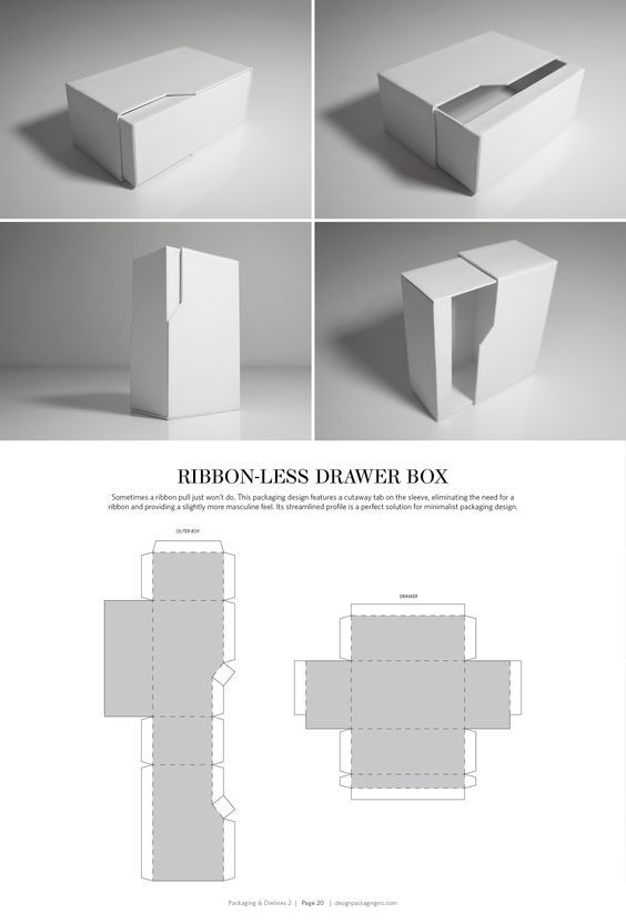 Ribbon-Less Drawer Box – structural packaging design dielines: