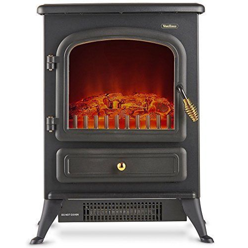 Free Standing Electric Fireplace Portable Heater Fire Stove Flame Wood Log 1500W #FreeStandingElectricFireplaces