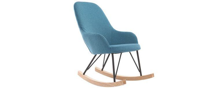 Fauteuil relax - Baby rocking chair tissu bleu pieds métal et frêne JHENE