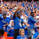 Florida Gator recruits celebrate after an interception by University of Florida Gators defensive back Duke Dawson during the second half as the Florida Gators defeat tne Tennessee Volunteers 26-20 at Ben Hill Griffin Stadium in Gainesville, Florida. September 16th, 2017.  Gator Country photo by David Bowie.