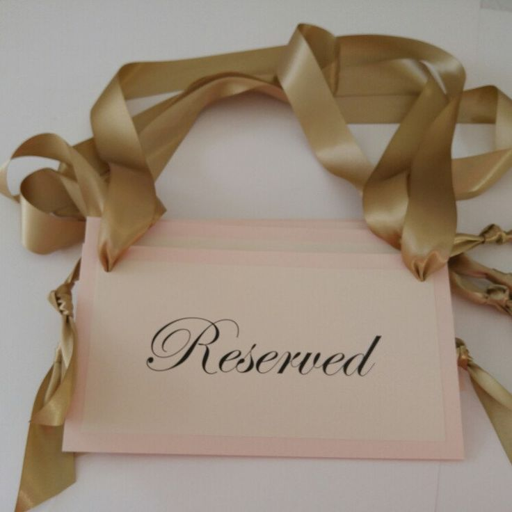 #wedding reserved ceremony signs.  Pretty prepared in blush and gold. These are on their way to a wedding today.