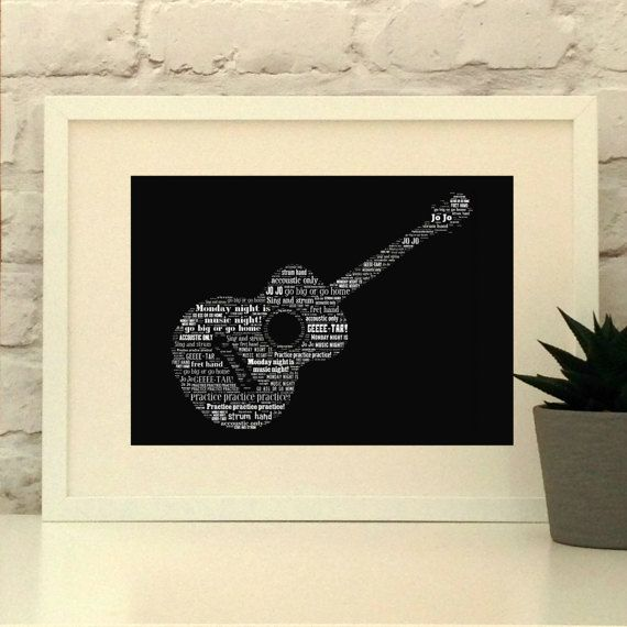 Personalised Acoustic Guitar Print Gift for musician