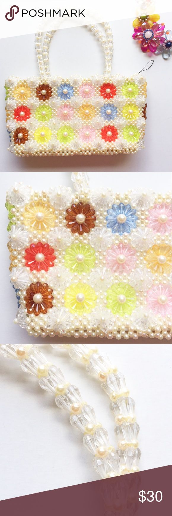 """Beaded Flower Bag 🌸 SO CUTE! Beaded flower handbag. Probably vintage and from Japan. 6""""X11""""x3"""". Excellent condition. Zipper pull replaced. Please feel free to ask any questions prior to purchase. Vintage Bags"""