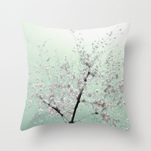 Hey, I found this really awesome Etsy listing at http://www.etsy.com/listing/165111450/pillow-cover-cherry-blossoms-pillow-mint