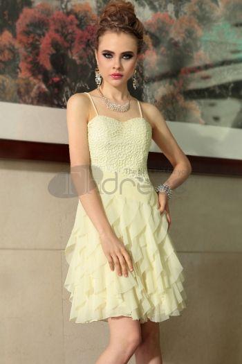 Abiti in Magazzino-cinghie di spaghetti dell\'innamorato di colore giallo chiaro di chiffon falbala 2014 abiti da sposa 6038