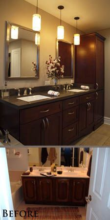More bathroom storage and an updated sense of style in this transitional style bathroom remodel.