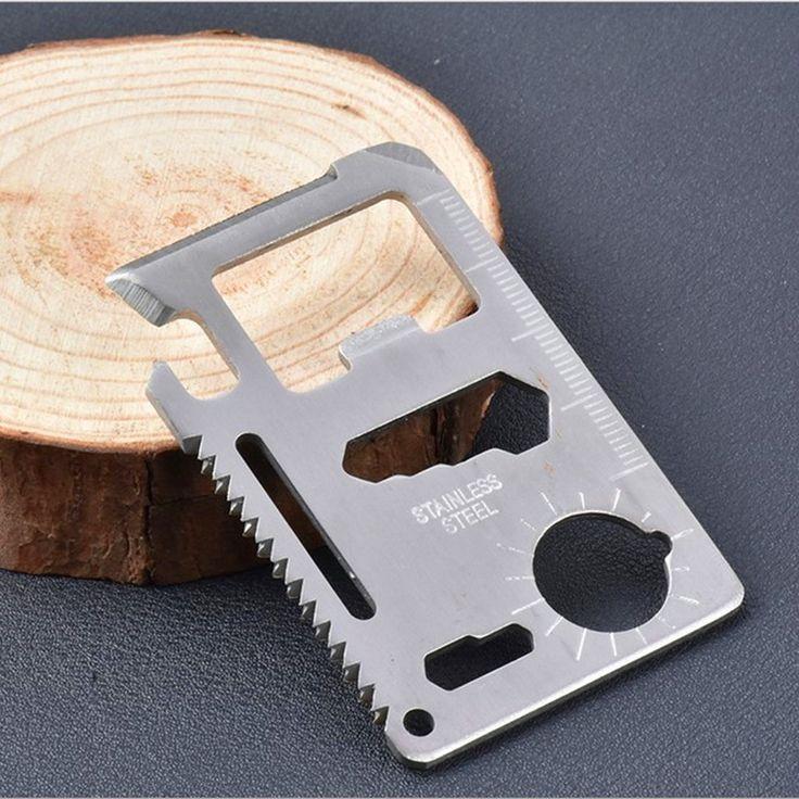 1 unids Polivalente Acampar herramienta 11 en 1 Multifunción Cuchillo de la Tarjeta, Bolsillo Survivin cuchillo Herramienta de Supervivencia Al Aire Libre, Envío gratis