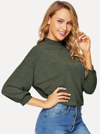 4994abb153d1d Shop Mock Neck Rib-knit Half Sleeve Top online. SheIn offers Mock Neck Rib- knit Half Sleeve Top & more to fit your fashionable needs.