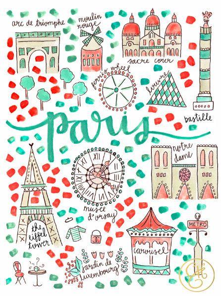 Paris Map Print www.evelynhenson.com