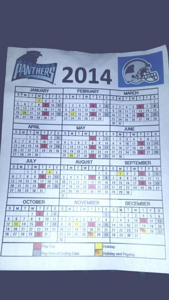 carolina panthers 2014 federal government pay day Calendar