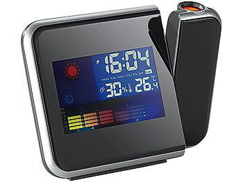 infactory Eleganter Projektions-Wecker mit farbiger Wetteranzeige infactory Projektionswecker mit Thermometer & Hygrometer