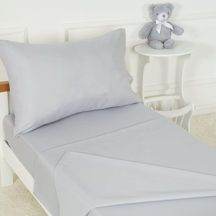 Toddler Bed Sheet And Pillowcase Set Gray 3 Piece Includes Fitted Microfiber