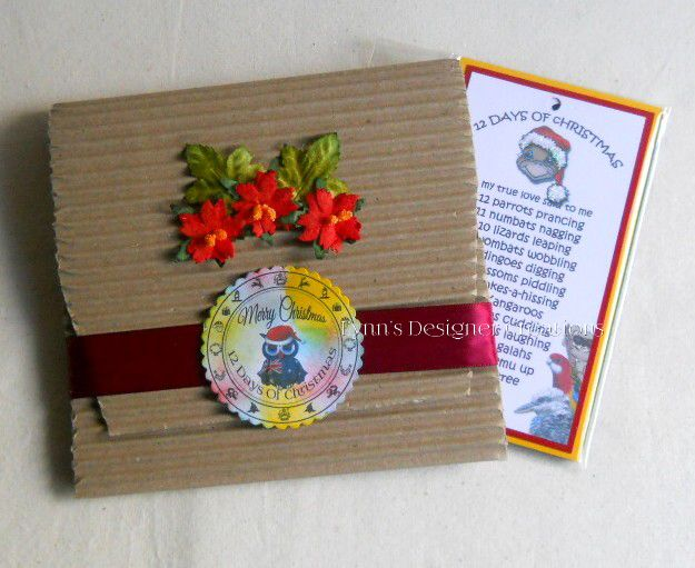 Australian 12 Days Of Christmas Tags Gift Set in Burgundy  Decorative Pouch