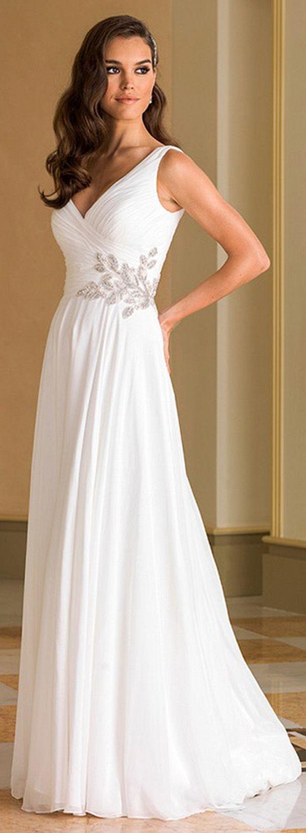 Flowing Chiffon & Stretch Satin V-Neck A-Line Wedding Dresses With Pleats