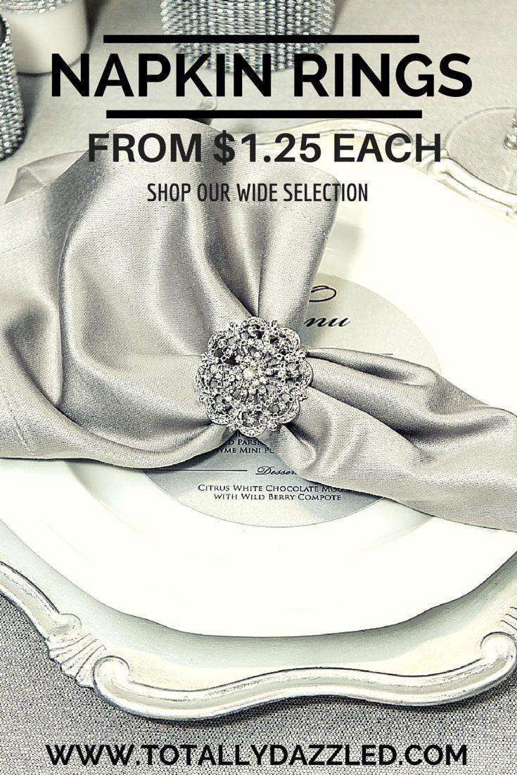 Wedding Napkin Rings at great prices! #weddingbling #napkinrings