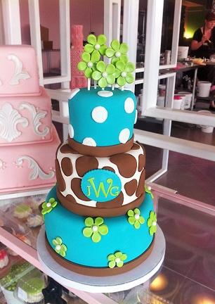 dots & giraffe print cake