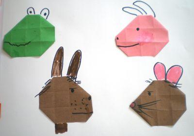 hoofd van Kikker, varken, haas en rat 16 vierkantjes en hoeken naar binnen vouwen.