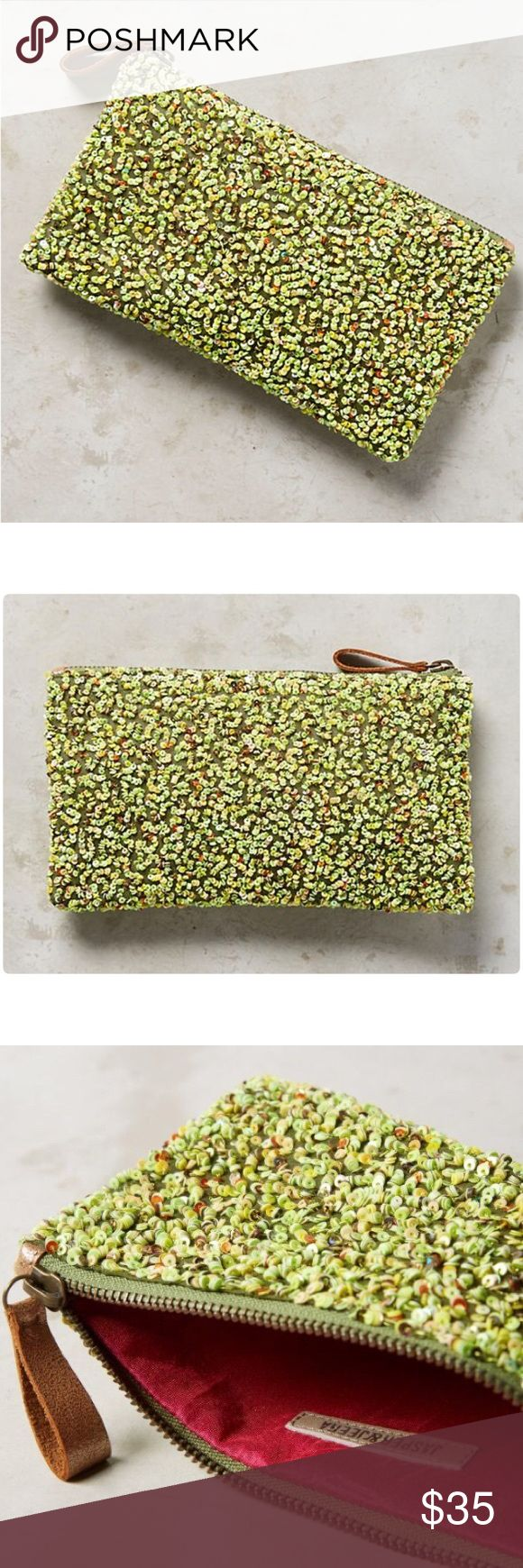 """Anthropologie Posy Sequined Clutch NWT Posy Sequined Clutch Jasper & Jeera Anthropologie❤️ Polyester, sequins Zip closure Imported  Dimensions 8""""H, 3""""W, 4""""D Anthropologie Bags Clutches & Wristlets"""