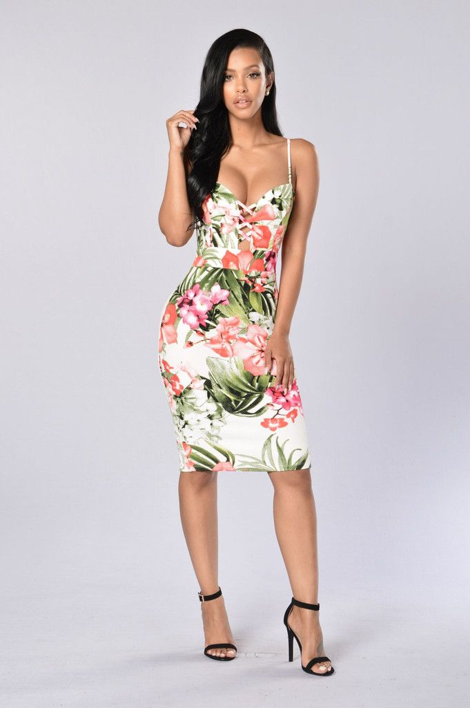 - Available in Tropical Print - Spaghetti Straps - Sweetheart Cut - Cut Out Criss-Cross Front - Liverpool Fabric - Fitted Dress - Back Slit