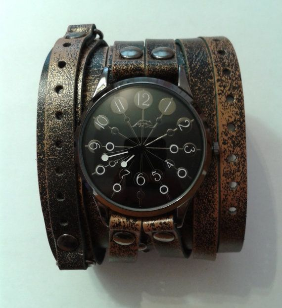 #Vintage double strap watch old leather strap Vintage #Victorian #Steampunk Cuff Bracelet