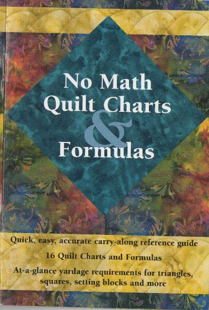 No Math Quilt Charts & Formulas  A quick, easy and accurate carry-along reference guide. 16 charts and formulas giving at a glance yardage requirements for triangles, squares, setting blocks and more.  Easy to use charts to help reduce and enlarge blocks;  number of block units per yardage;  borders, backing and binding formulas  #books #inspiration #craft #handmade #quilting