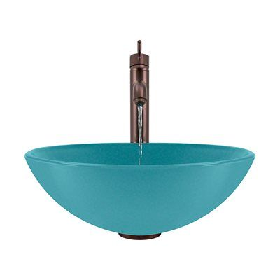 The MR Direct 601-TQ-718 Turquoise Bathroom 718 Vessel Faucet Ensemble