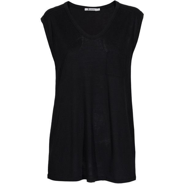 T BY ALEXANDER WANG Muscle Pocket Black // Sleeveless top with front... (1,885 MXN) ❤ liked on Polyvore featuring tops, shirts, tank tops, t-shirts, extra long shirts, v neck tank top, extra long tank tops, long loose tank tops and extra-long tank tops