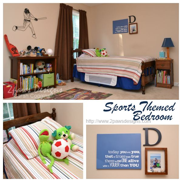 Sports Themed Bedroom ~ 2paws Designs #bedroommakeover #boysroom #sports