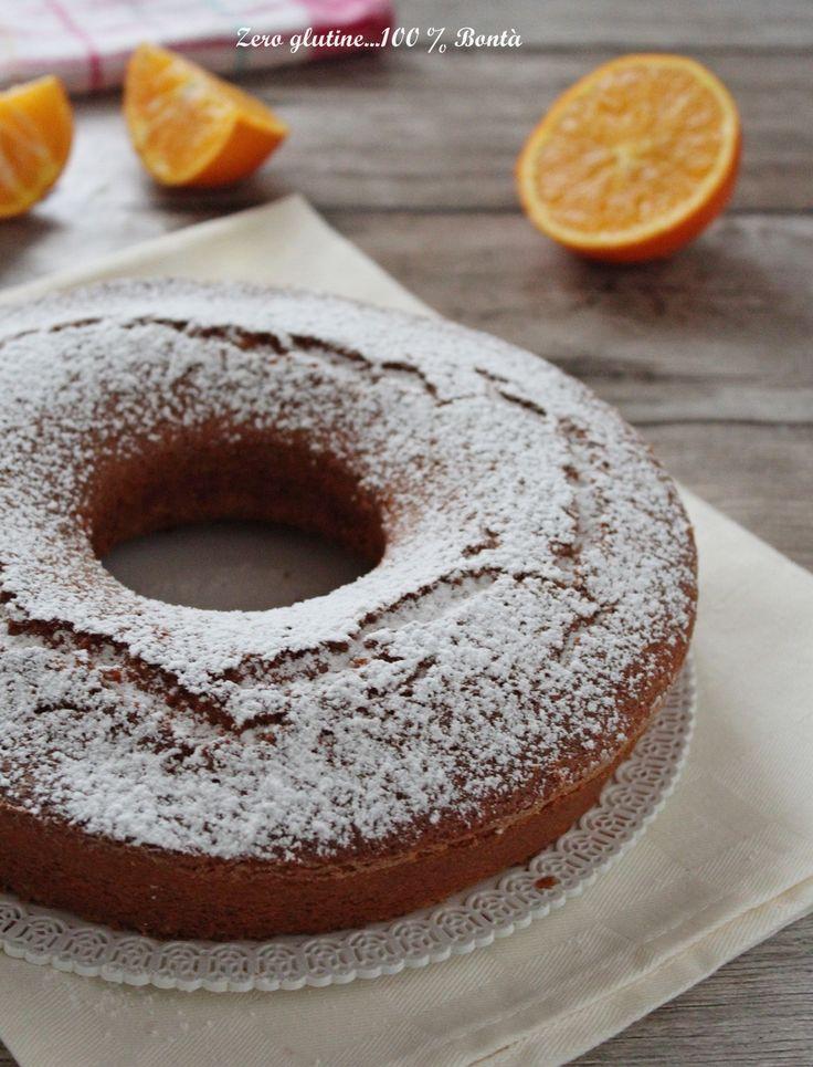 Ciambella all'arancia senza glutine soffice , profumata e perfetta da servire per colazione o merenda . Un dolce molto semplice e veloce da preparare
