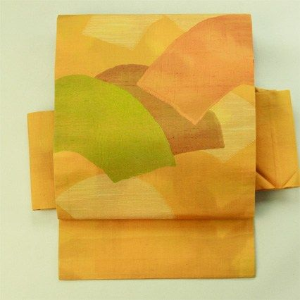 Town use. Gold yellow, fan pattern nagoya obi / 街着のお洒落に 黄金色地 扇面お太鼓柄 名古屋帯 #Kimono #Japan http://global.rakuten.com/en/store/aiyama/