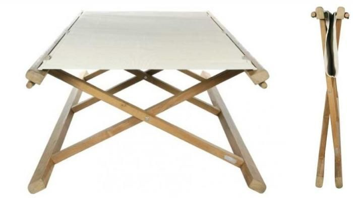 The Tobago Folding Bed from Tectona is made of teak with a Sunbrella-like cover made of Batyline cloth.