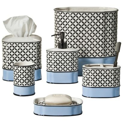 Love this pattern so classy w bw pattern with blue added for Bathroom coordinate sets