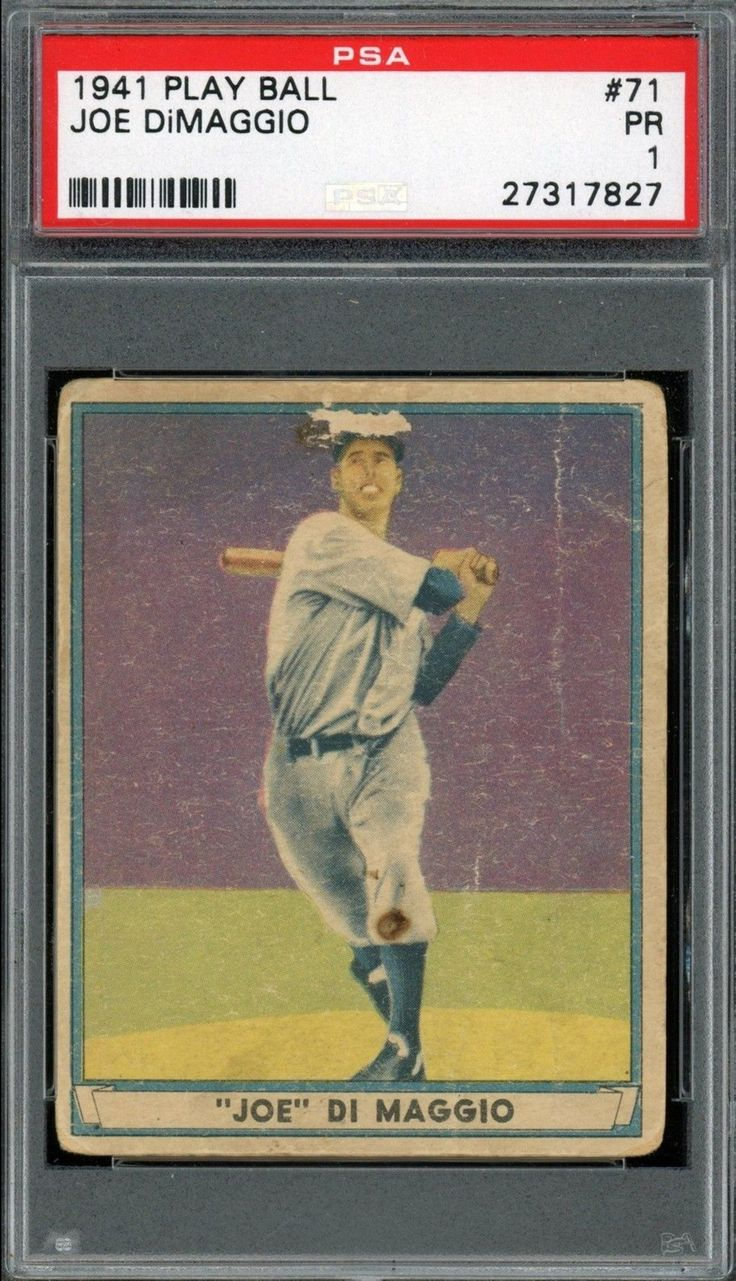1941 Play Ball 41 Joe Dimaggio Baseball Card Graded Psa 1 Poor Condition Baseball Cards Baseball Trading Cards Baseball Card Values