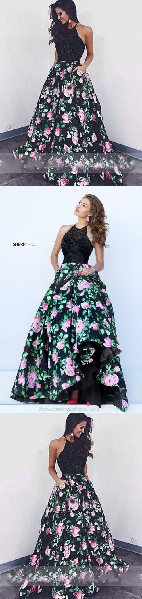 Black Ball Gown Beaded with Rose Print,Black A-line Evening Dress,Floor-length Formal Dress With Beading,Prom Dresses,M000147#prom #promdress #promdresses #longpromdress #promgowns #promgown #2018style #newfashion #newstyles #2018newprom#eveninggowns#black#ballgown#beaded#roseprint