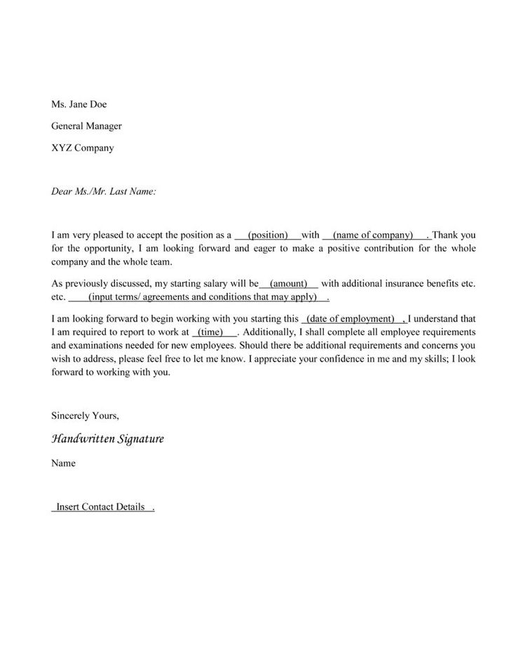 8 best Sample Acceptance Letters images on Pinterest Letter - employment offer letter