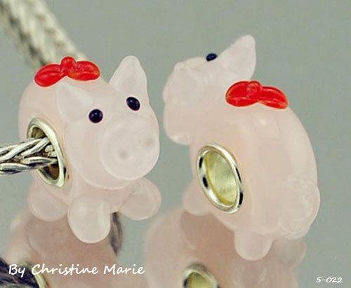 Murano Glass Pink Pig European Bead Charm 5-022 on Etsy, $5.75
