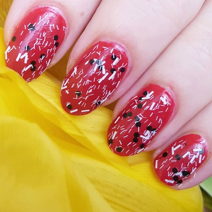 """Today's nails. Red (MUA nailpolish shade 6) with Black and white confetti (Farmasi Pretty Dots nailpolish)   #nailsoftheday #notd #nailsofinstagram…"""