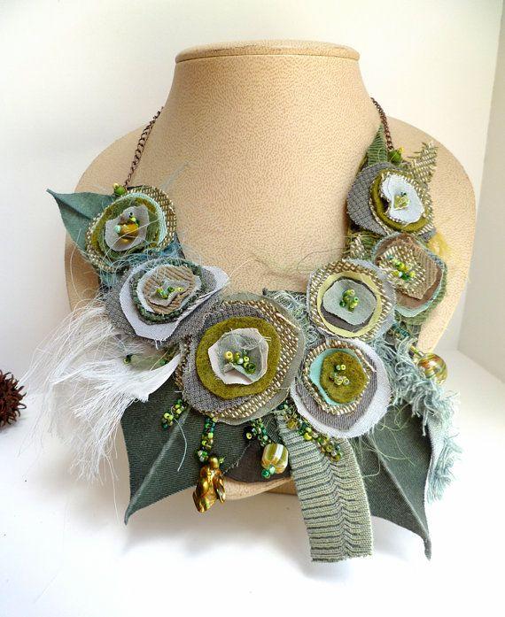 Morning beauty XIII fiber art necklace as seen In by Cesart64