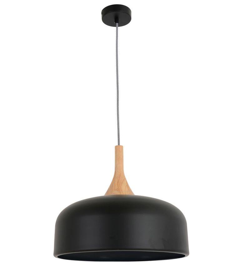 Beacon Lighting - Sunraysia 1 light 380mm pendant in matt black with ash wood