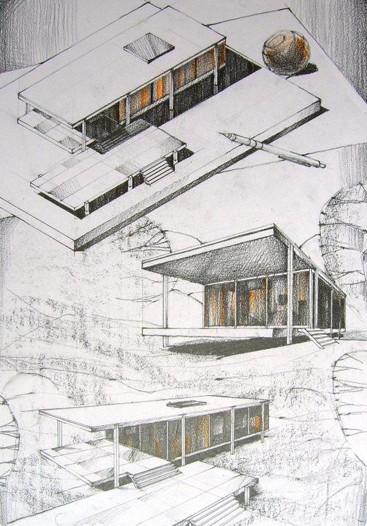 Andrei Pomana: Farnsworth House in pencil, repeated.