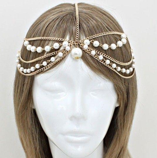 Bohemian ouro pérola camada cabeça cadeia capacete grego headchain, Casa de Harlow estilo Gypsy jóias cabeça, Cadeia de casamento(China (Mainland))
