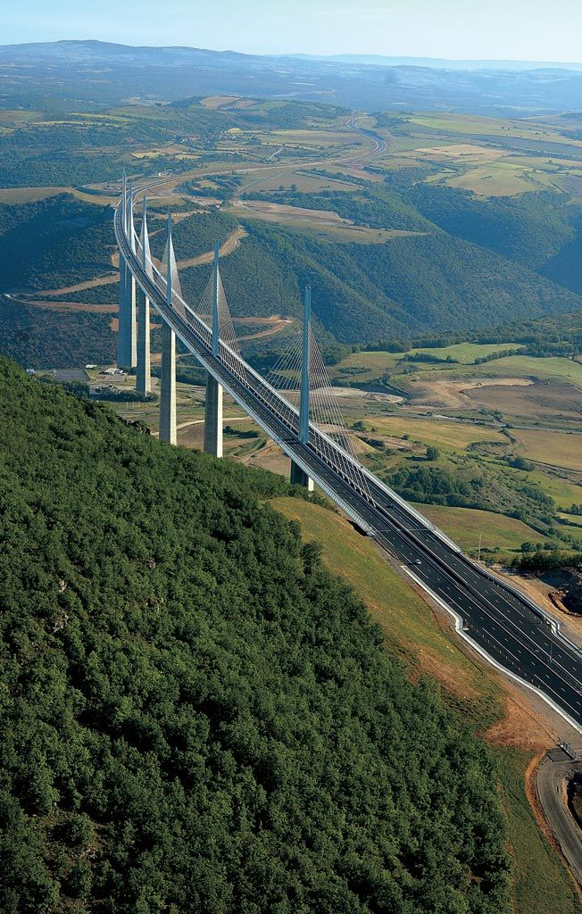 Millau Viaduct Located in southern France, the bridge completes a hitherto missing link in the A75 autoroute from Clermont-Ferrand to Béziers across the Massif Central. The A75 now provides a direct, high-speed route from Paris to the Mediterranean coast and on to Barcelona.