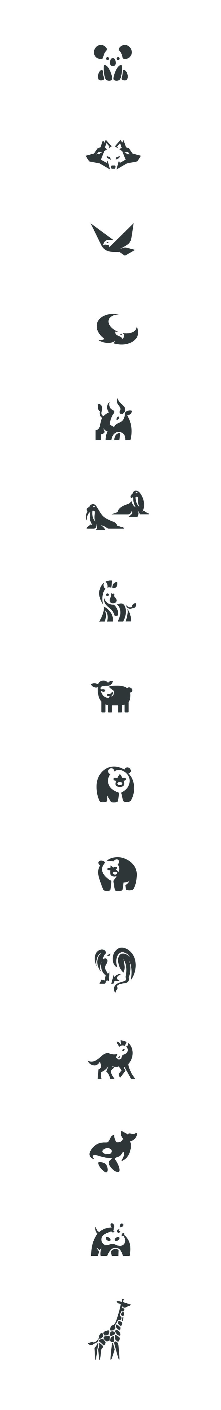 Negative space animals pt.3 #negative #space #logo #animals #marks #design #identity #brand #seap #koala #hippo #bull #griffin #wolf #bear #horse #pony  #giraffe #eagle #illustration #kreatank #whale #orca