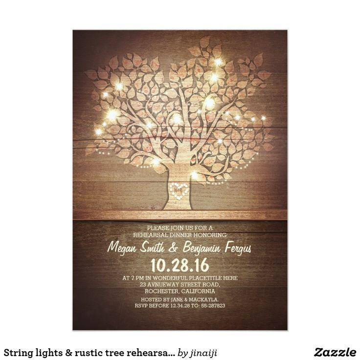 bed bath and beyond wedding invitation kits%0A String lights  u     rustic tree rehearsal dinner card  Tree Wedding InvitationsRehearsal