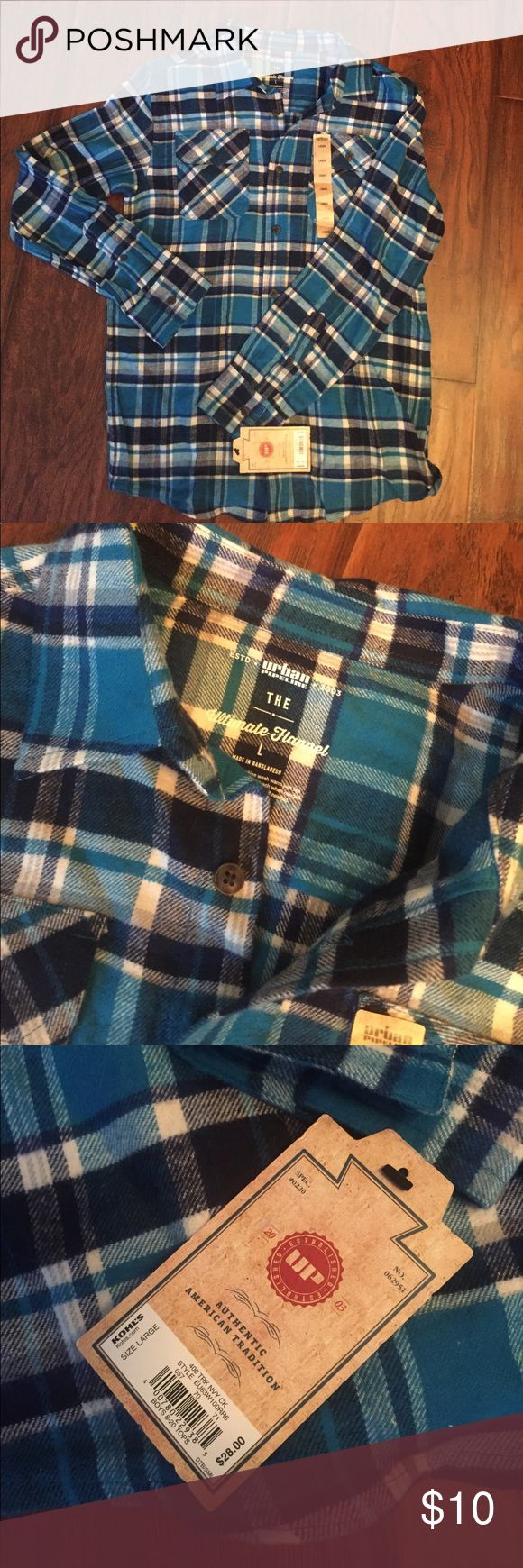 Shirt NWT flannel Urban Pipeline shirt. Size large. Primarily turquoise in color with accents of black and white. 💯 % cotton Shirts & Tops Button Down Shirts