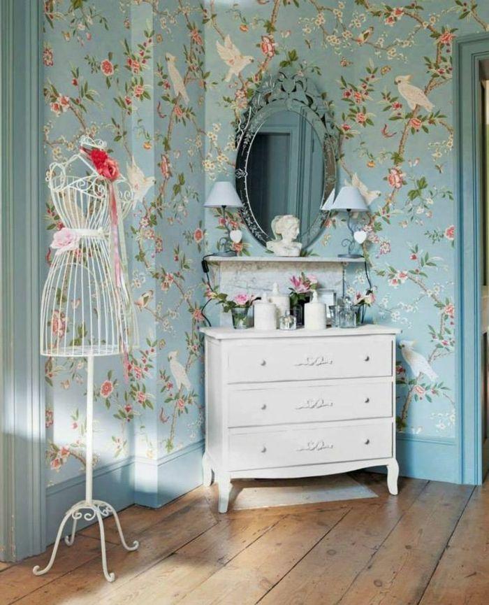 papier peint style anglais sol en planchers